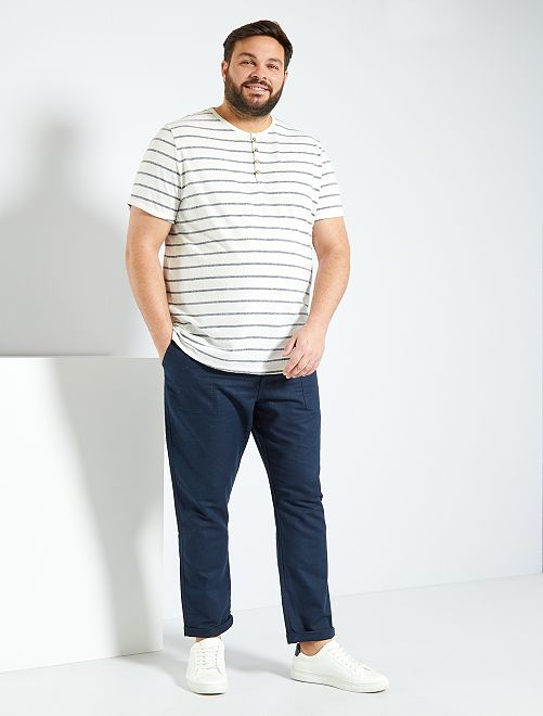 Pantalon coton et lin                                         bleu marine