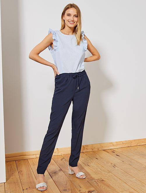 Pantalon coupe droite à taille élastique                     bleu Femme