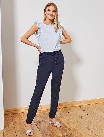 Pantalon coupe droite à taille élastique