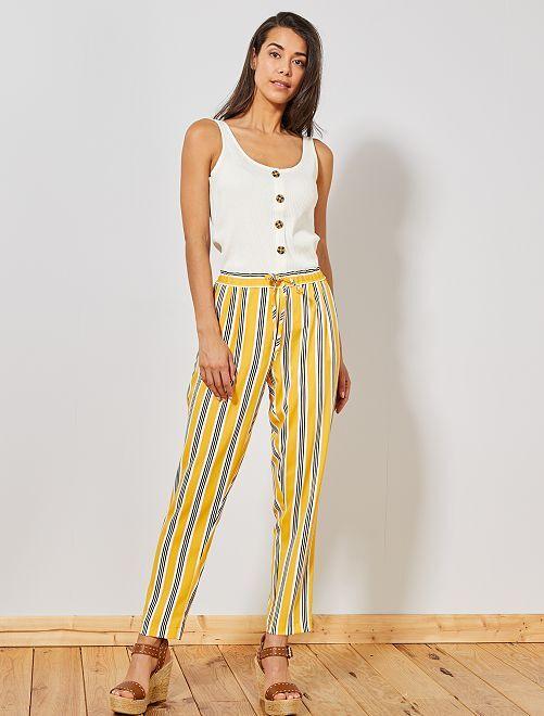 Pantalon coupe droite à taille élastique                                                     jaune rayé Femme