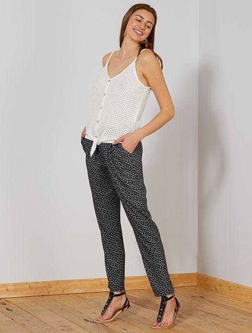 Pantalon coupe droite à taille élastique                                                     noir Femme