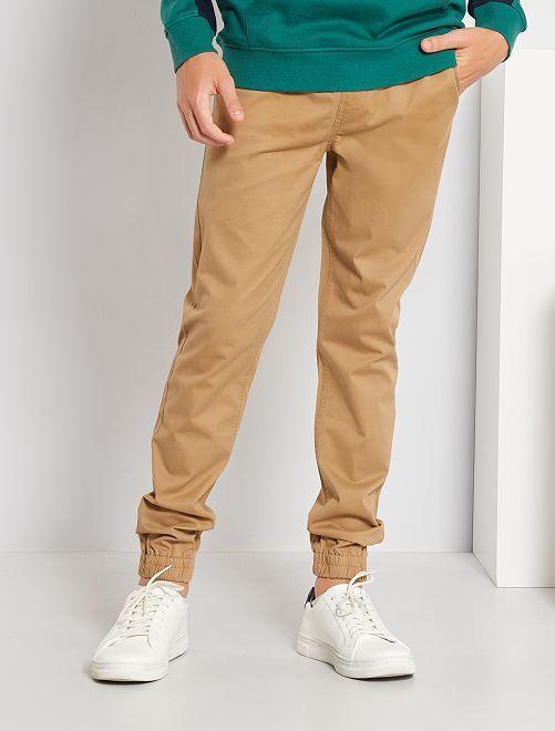 Pantalon coupe jogger en twill                                                     beige