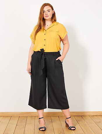 2fabdb85035 Grande taille femme - Pantalon cropped avec ceinture - Kiabi