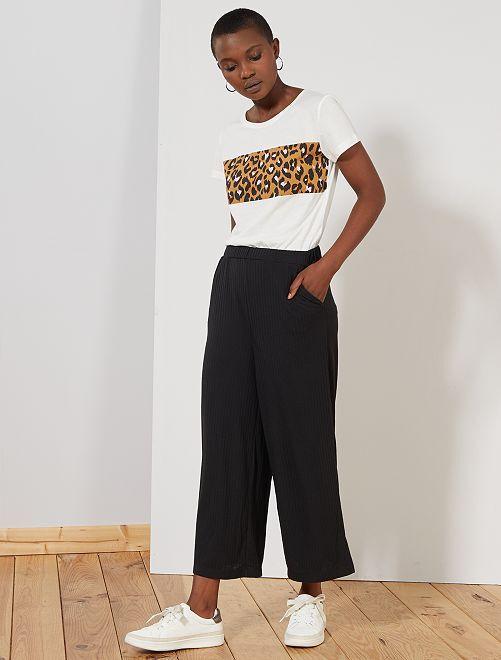 Pantalon cropped maille côtelée                     noir