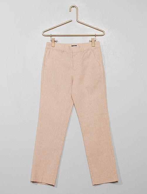 Pantalon de costume lin et coton                                         beige