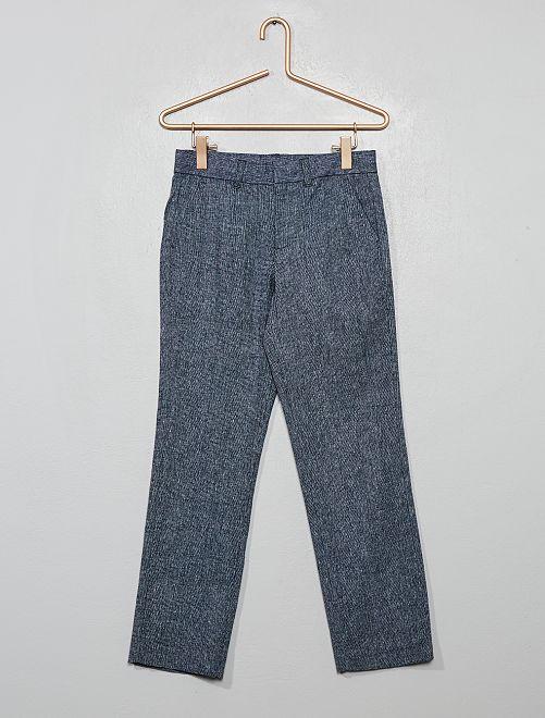 Pantalon de costume lin et coton                                         bleu marine