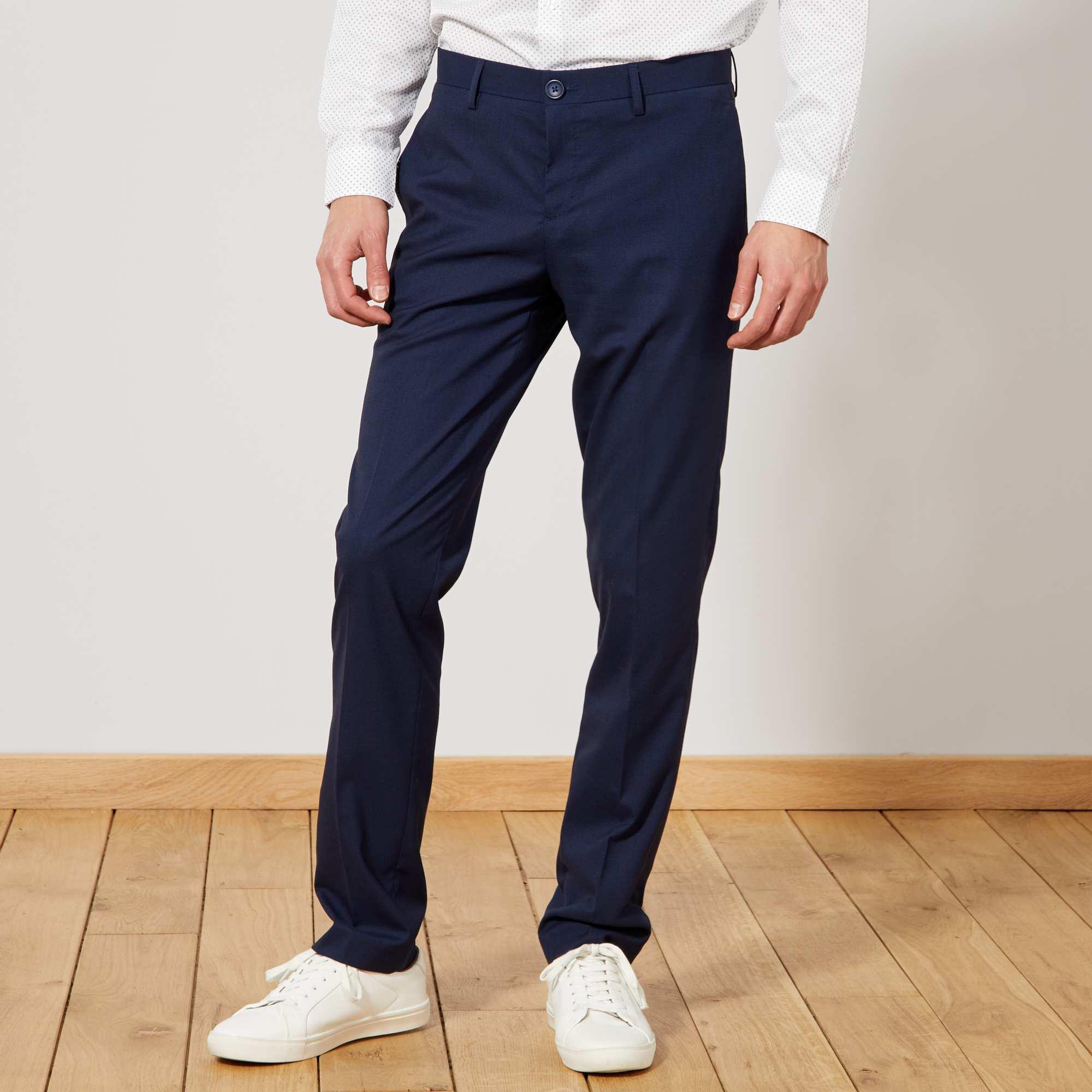 Couleur : bleu marine, , ,, - Taille : 44, 40, 42,48,46Un pantalon de costume élégant et agréable à porter, réalisé dans un beau tissu aspect