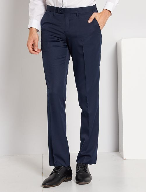 Pantalon de costume regular en twill                                         bleu marine