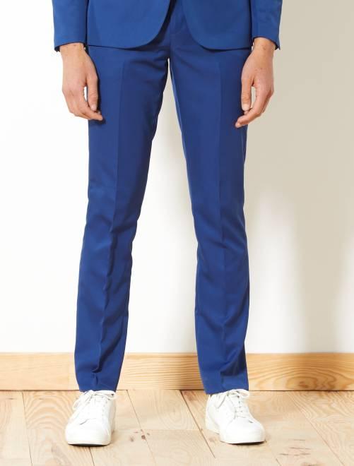Pantalon de costume slim en twill                                                     bleu
