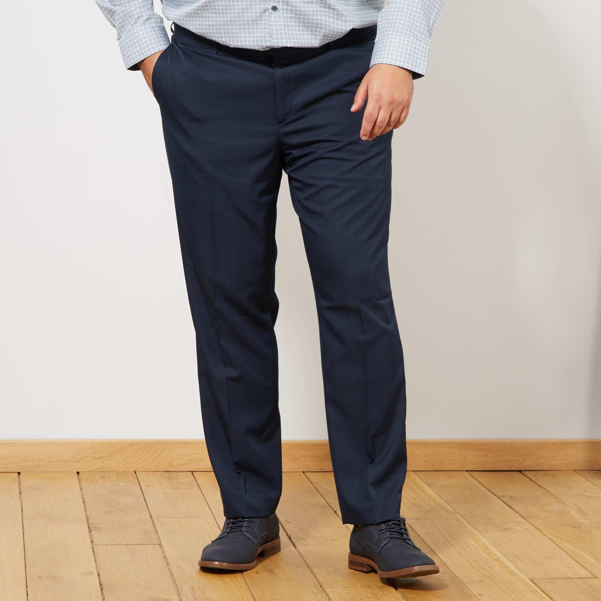 Pantalon de costume uni coupe droite Grande taille homme - bleu ... 58e01582351