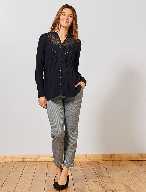 Pantalon de grossesse style tailleur                             pied de poule Vêtement de grossesse