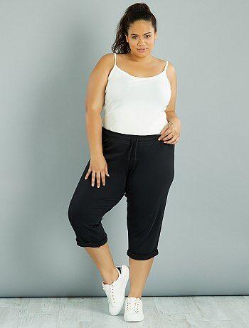 pantalon de jogging 3 4 grande taille femme noir kiabi 10 00. Black Bedroom Furniture Sets. Home Design Ideas