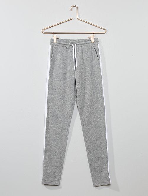 Pantalon de jogging à bande                                                                 gris chiné/blanc