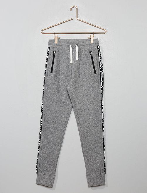 Pantalon de jogging avec bandes sur les côtés                             gris