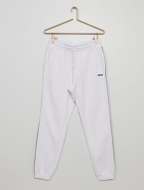 Pantalon de jogging bande imprimée                                                                                                                 blanc