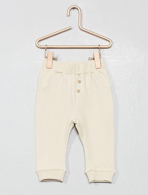 Pantalon de jogging détail boutons                                                                 beige