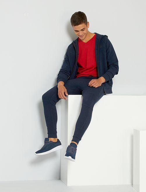 Pantalon de jogging en piqué de coton                                                     bleu marine