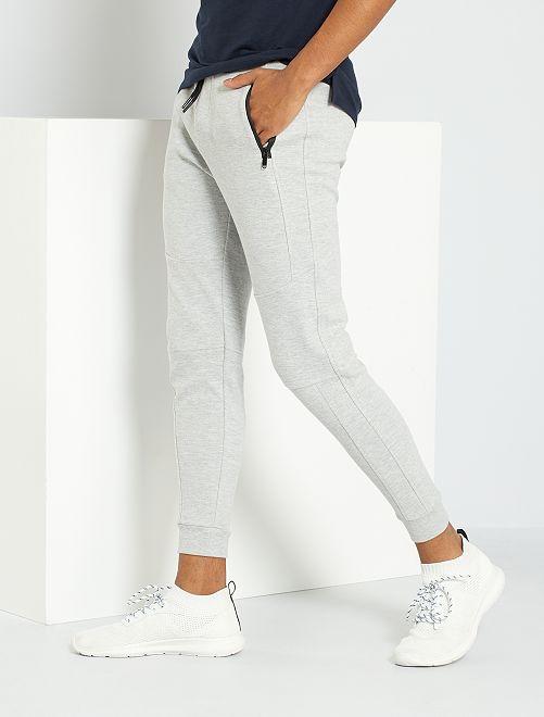 Pantalon de jogging en piqué de coton                                                     gris