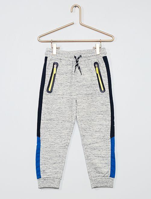 Pantalon de jogging tricolore                             gris chiné