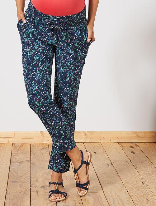 Pantalon de maternité imprimé                                         bleu tulipe