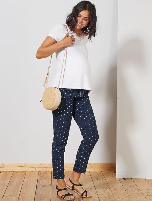 Pantalon de maternité imprimé                                                                 marine feuille Femme