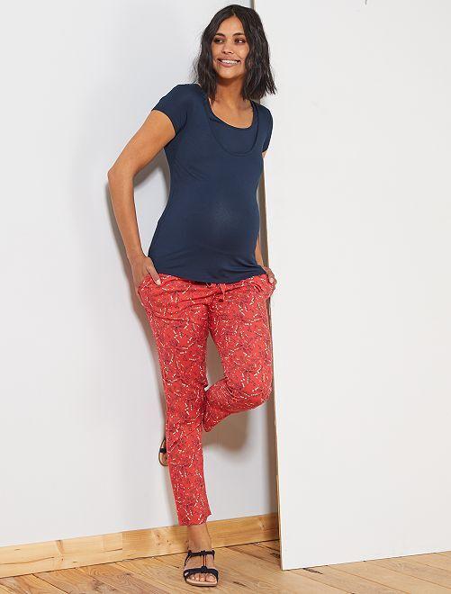 Pantalon de maternité imprimé                                                                 rouge Femme