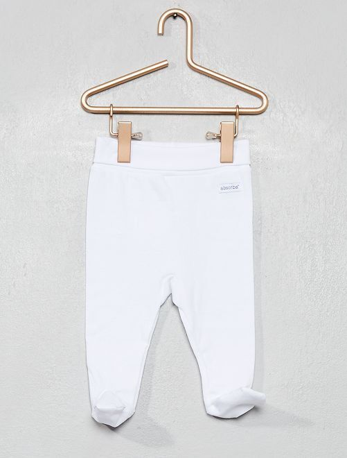 Pantalon de pyjama à pieds en jersey 'Absorba'                             blanc