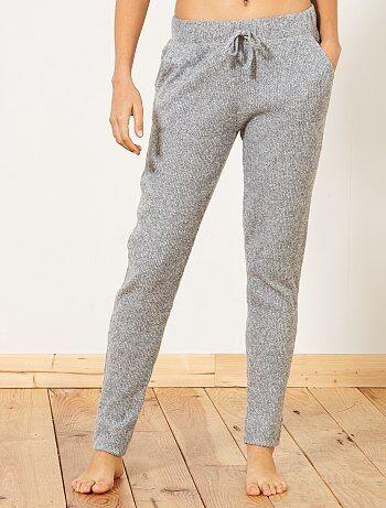 Pantalon de pyjama en maille côtelée - Kiabi