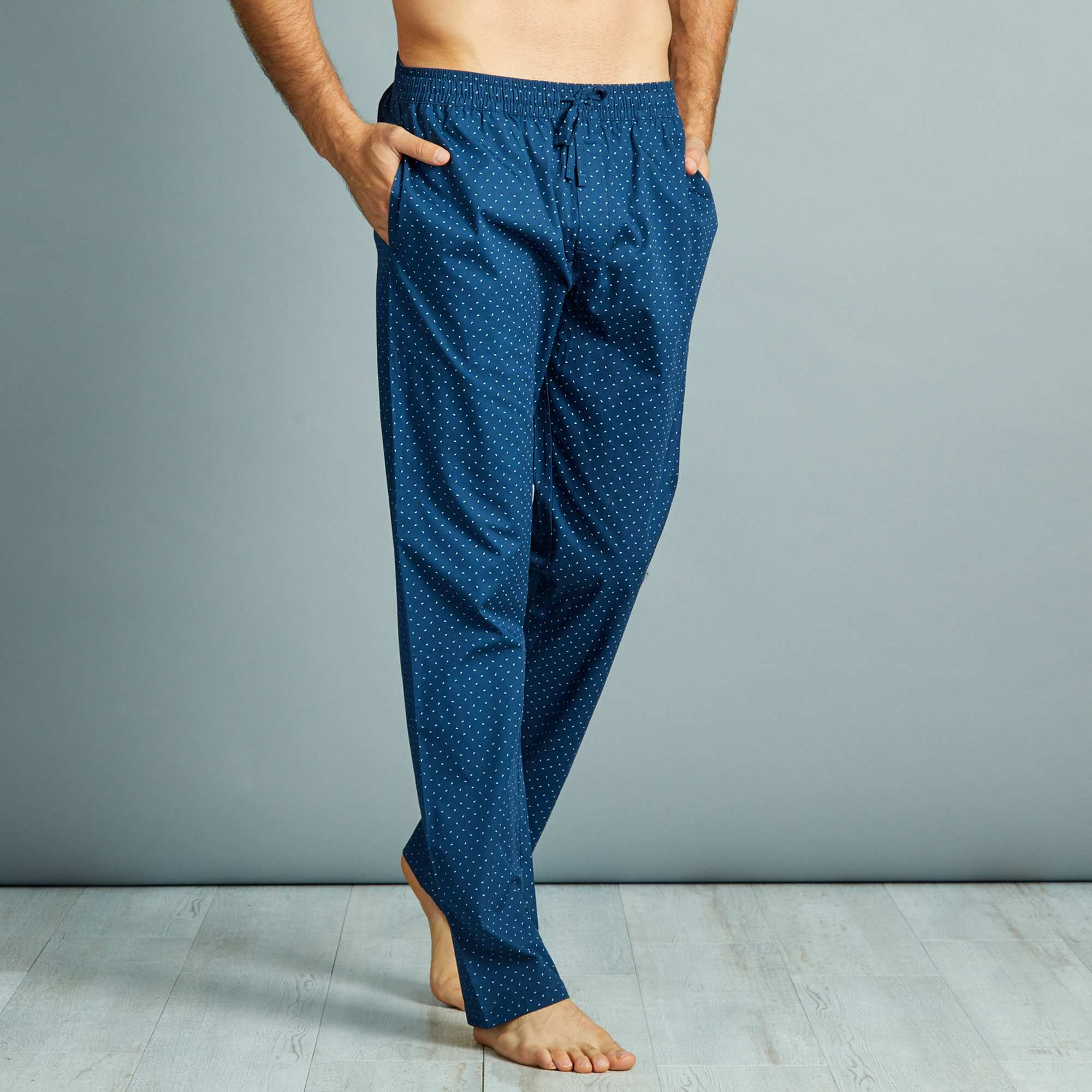 pantalon de pyjama en popeline pur coton homme bleu pois kiabi 12 00. Black Bedroom Furniture Sets. Home Design Ideas