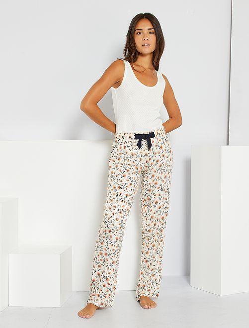 Pantalon de pyjama imprimé                                                     écru