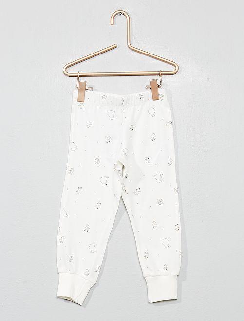 Pantalon de pyjama 'ours' et 'faon'                                         écru Fille