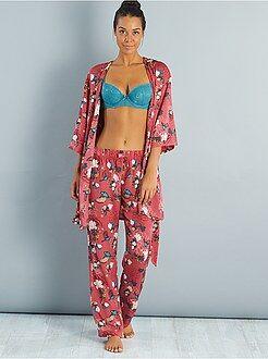 Pyjama, nuisette - Pantalon de pyjama satiné motifs japonisant