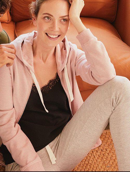 Pantalon de sport en molleton                     gris chiné clair