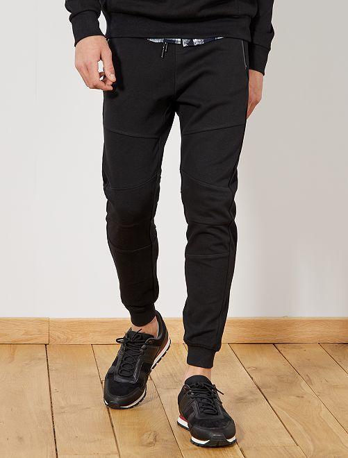 pantalon de sport en piqu de coton homme noir kiabi. Black Bedroom Furniture Sets. Home Design Ideas