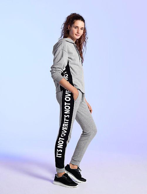Pantalon de sport molletonné                             gris