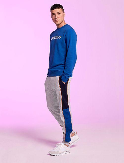 Pantalon de sport molletonné                             gris/bleu