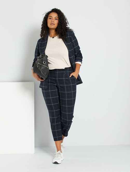 Pantalon de tailleur à carreaux                             bleu/carreaux