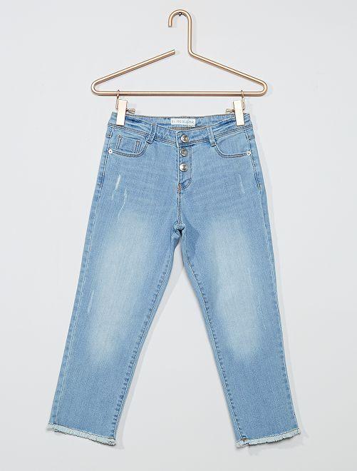 Pantalon denim court                             bleu