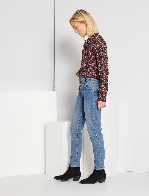 Pantalon denim découpe western éco-conçu                                                     stone