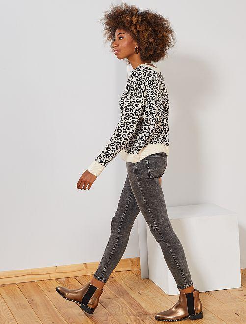 Pantalon denim délavé                             gris Femme