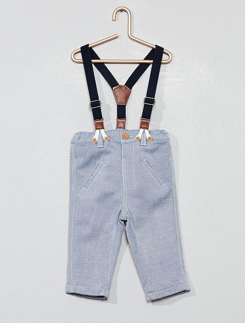 Pantalon doublé à bretelles                             bleu