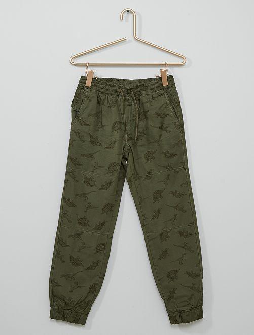 Pantalon doublé imprimé 'dinosaures'                             kaki imprimé