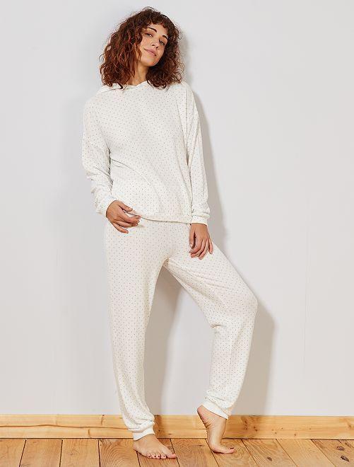Pantalon doux imprimé                                         blanc