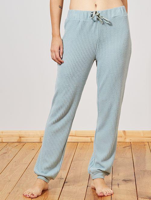 Pantalon doux nid d'abeille                                         bleu ardoise