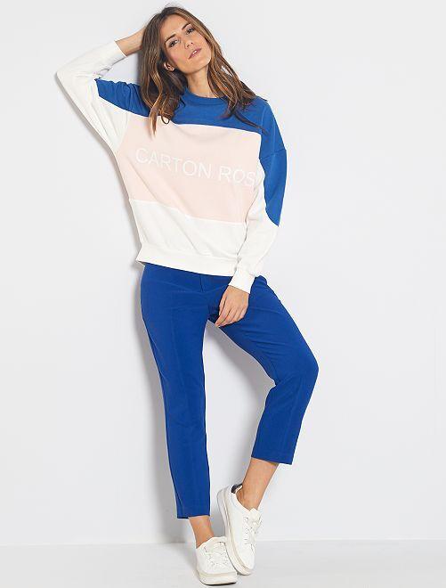 Pantalon droit 7/8ème dos élastiqué                                                                 bleu