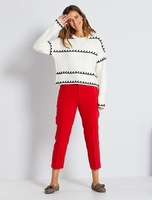Pantalon droit 7/8ème dos élastiqué                                                     rouge