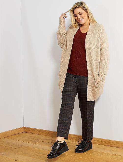 Pantalon droit à carreaux                             noir/gris
