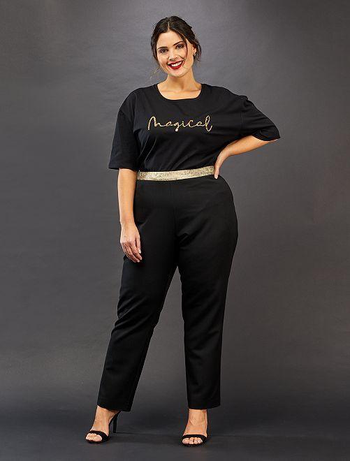 Pantalon droit avec détails dorés                             noir