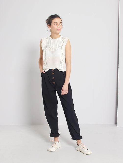 Pantalon droit boutonné                                         noir