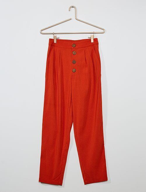 Pantalon droit boutonné                                         ORANGE